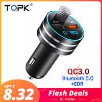 Cargador de coche USB TOPK de carga rápida 3,0, cargador de teléfono móvil Dual USB para coche con Bluetooth 5,0, transmisor FM, tarjeta MP3 manos libres