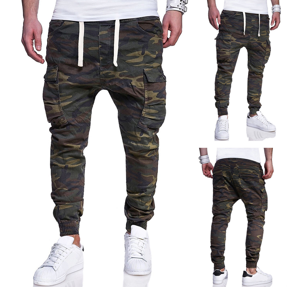 2018 New Style Supply Of Goods Large Size Men Fashion Camouflage Printed With Drawstring Belt Casual Skinny Pants