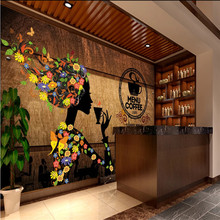 Mural Wallpaper House Industrial-Decor Wood Custom Beauty Retro Meal Plank Cafe 3D Background