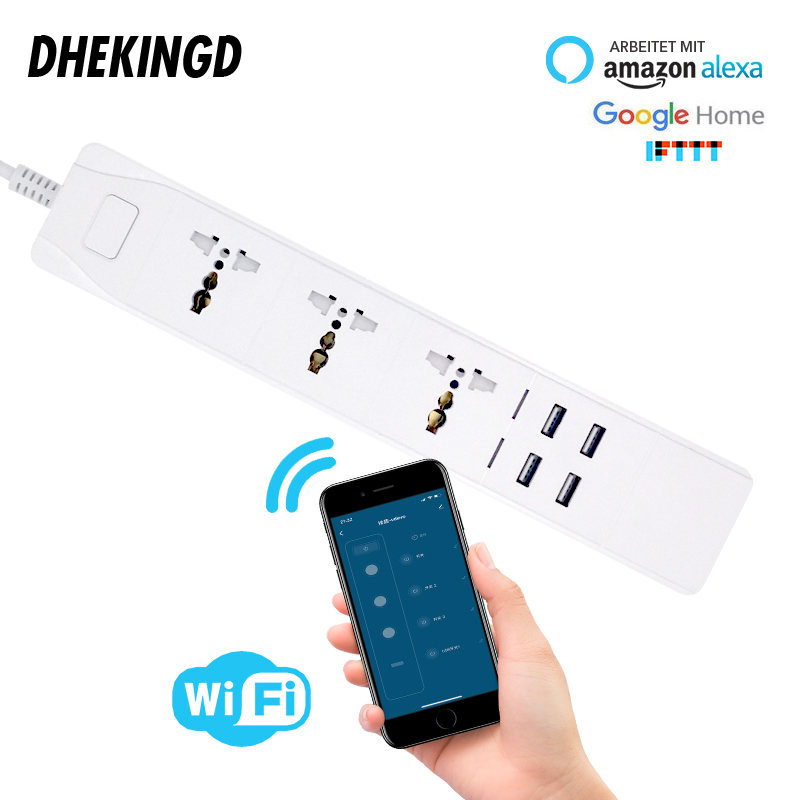 Wifi Smart Power Strip Universal 3 Sockets 2/4USB Charging Station Work with Alexa Google Home IFTTT UK/AU/EU/US Adapter Plugs