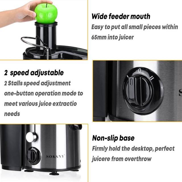 800W 220V Electric Juicer Stainless Steel Juicers Whole Fruit Vegetable Food-Blender Mixer Extractor Machine 2 Speed Adjustment 3