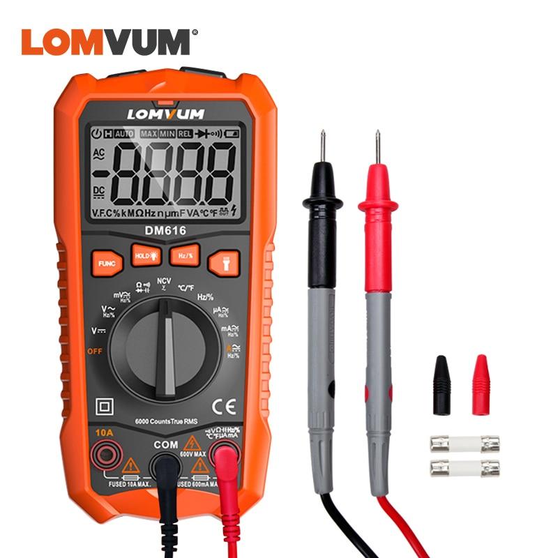 LOMVUM Multimeter DM616 NCV Digital Multimeter 6000 Counts Auto Ranging AC/DC Voltage Meter Flash Light Back Large Screen Tester