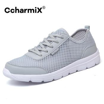 CcharmiX buty dla kochanków 2020 letnie tenisówki hurtownie oddychające lekkie siatkowe buty tenisowe dla mężczyzn Casual Teen Shoes Big Size tanie i dobre opinie Mesh (air mesh) Przypadkowi buty Lace-up Pasuje prawda na wymiar weź swój normalny rozmiar Podstawowe Lato men shoes