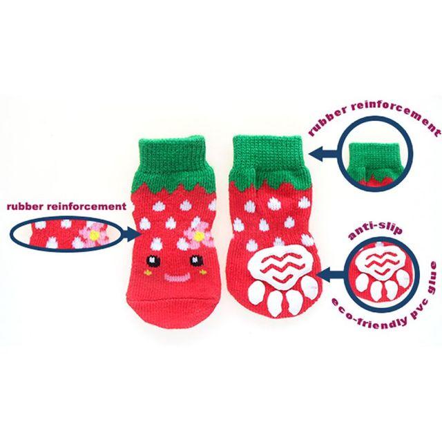 4 шт/компл милые вязаные носки для собак хлопковая противоскользящая фотография