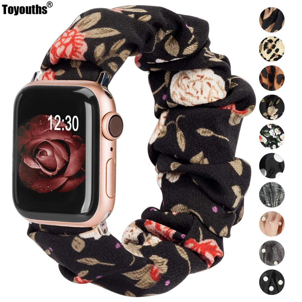 Printed Fabric Band For Apple Watch Scrunchies 42mm 40mm Women Rose Gold Elastic Strap 38mm 44mm For Iwatch Series 5 4 3 2 1