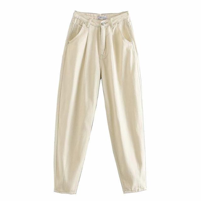 Tangada fashion women loose mom jeans long trousers pockets zipper loose streetwear female blue denim pants 4M38 6