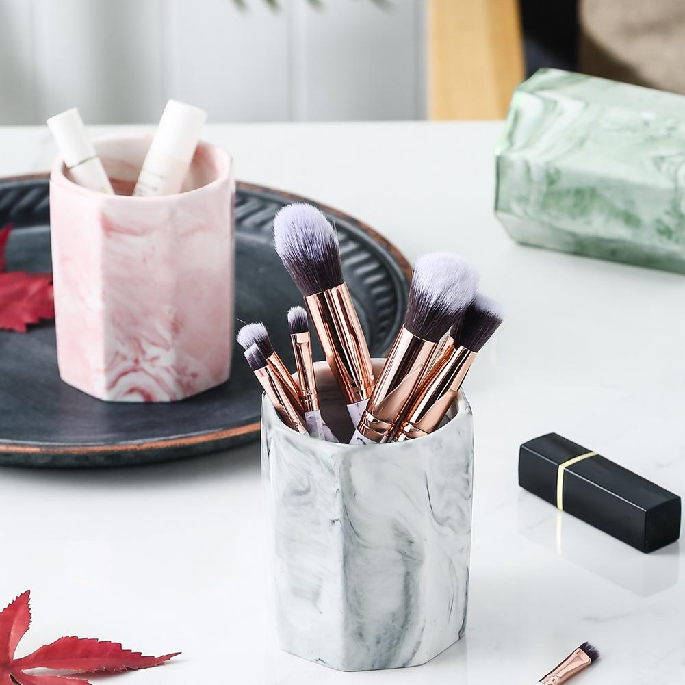 Ceramic Cosmetic Make-up Brush Storage Box Jar Pen Holder Desktop Organizer Storage Box Desk Decor Easy To Durable And Non-toxic
