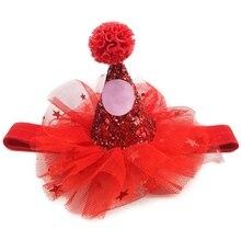 Милая очаровательная собака кошка день рождения марлевая шляпка с блестками Pet cap аксессуар к костюму для вечеринки