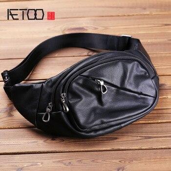 AETOO Men's leather slant bag, cowhide casual mobile phone bag, men's bag trend chest bag