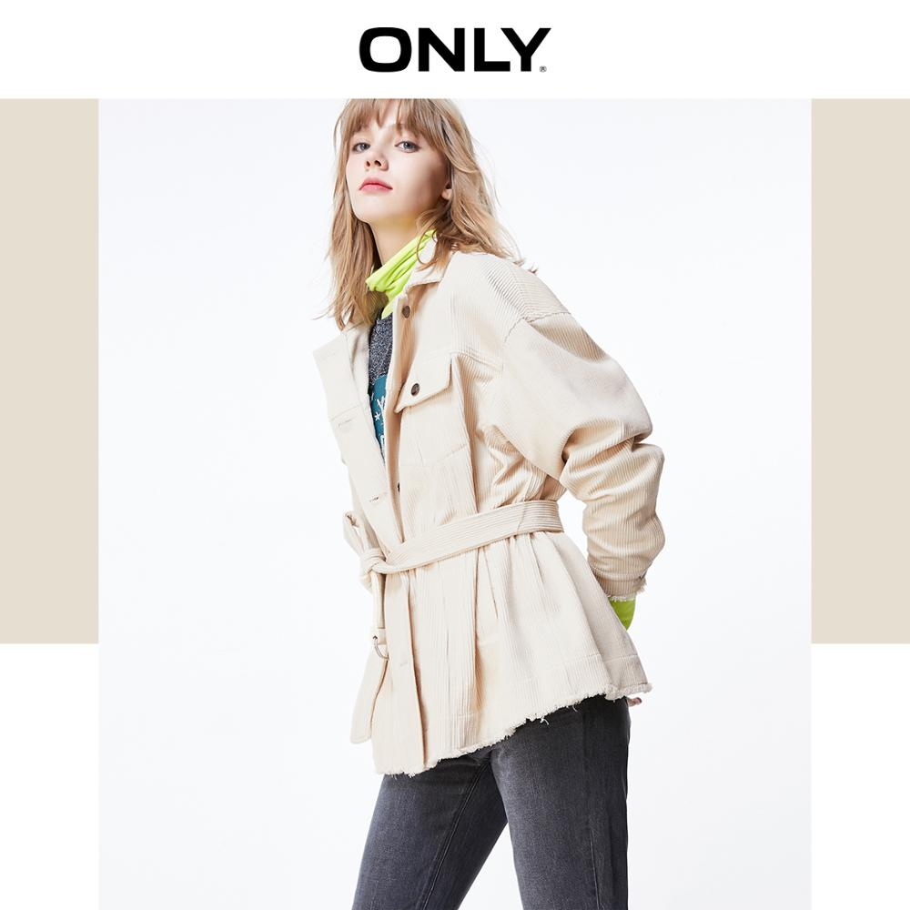 ONLY Autumn Winter Women's Loose Fit Corduroy Piled Loop Coat   119336584