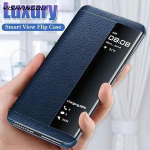 Luksusowe skórzane etui z klapką do Huawei P30 P20 P10 Pro Mate 30 10 20 Pro Nova 3 3i 4 5 Pro Y6 Y7 Honor 5X20 inteligentny widok etui na telefon