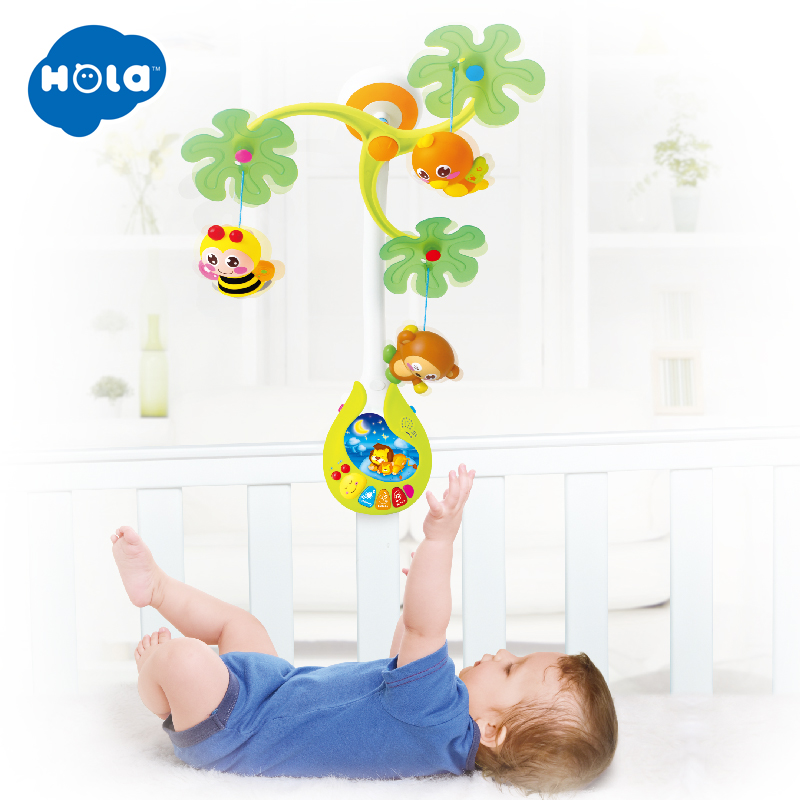 818 bébé jouets pépinière lit Mobile avec berceuse musicale sons hochet rotatif loisirs sol lit cloche 0-12 mois pour les enfants