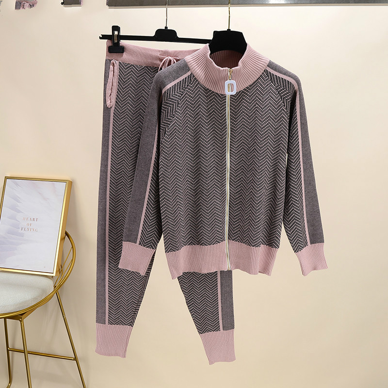 Fall Winter New Tracksuit Woman Color Patchwork Turtleneck Zipper Knitted Cardigans+Pants 2PCS Sets Long Sleeve Knit Top Trouser