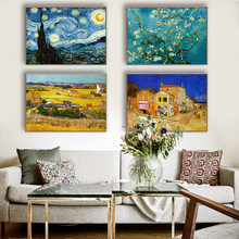 Van gogh pintura a óleo noite estrelada abstrato clássico lona parede arte impressão girassol cartaz imagem para sala de estar decoração