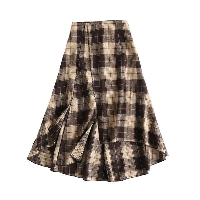 Винтажная Женская юбка миди, богемная, осенняя, асимметричная, женская, высокая талия, повседневная, уличная, Женская юбка, клетчатая, Moda Mujer