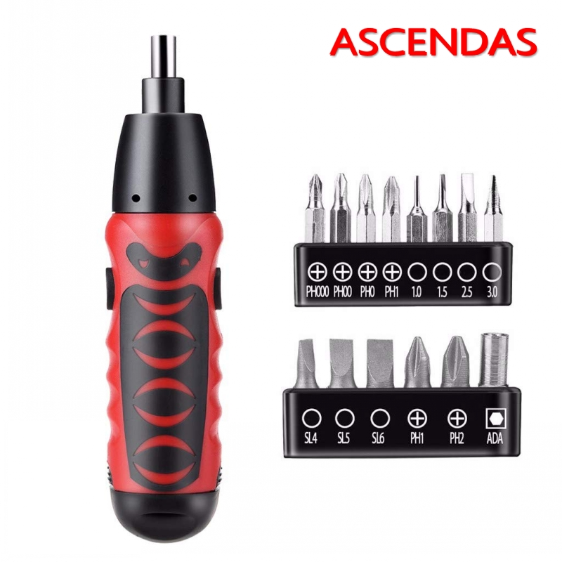 ASCENDAS Mini Electric Screwdriver Battery Operated Cordless Screw Driver Drill Tool Set Dry Battery Household Repair Tool Kit