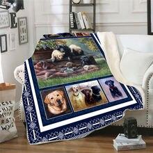 Флисовое одеяло для кровати с 3d принтом Лабрадора толстое пешего
