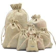 Sacs en toile de Jute Vintage, 10 pièces, en toile de Jute naturelle, sacs cadeaux à cordon, sac d'emballage de cadeaux de fête, fourniture de fête