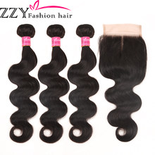 ZZY Fashion Hair Peruvian Body Wave 3 Bundles With Closure Non Remy Hair Weft Human Hair(China)