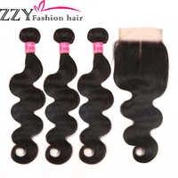 ZZY Fashion Hair Peruvian Body Wave 3 Bundles With Closure Non Remy Hair Weft Human Hair