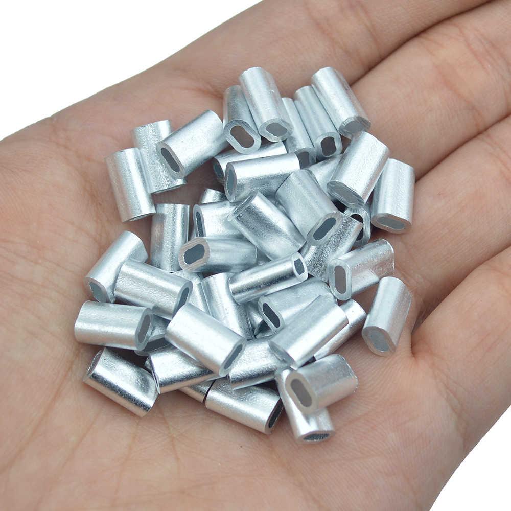 100pcs Premium Aluminum sleeves for monofilament Rigging Trace Leader CrimpB iv