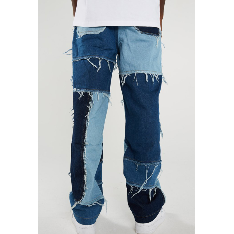 Men Wash Splice Casual Straight Tassel Patchwork Jeans Trousers Male Fashion Streetwear Loose Hip Hop Denim Full Length Pants