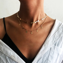 цена на Women's fashion necklace multi-layer gold stars pendant short necklace chain charm chain necklace party accessories 2019 new
