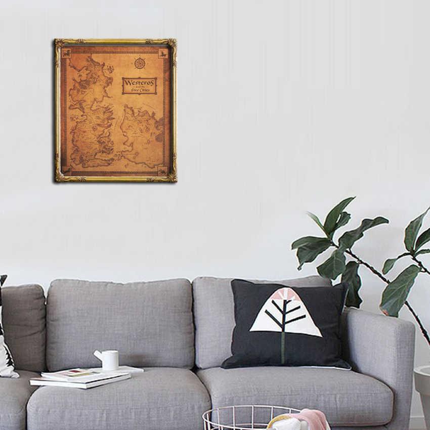 Papel pintado Mural juego de tronos mapa Vintage póster decoración del hogar sala de estar pared pegatina juego de tronos