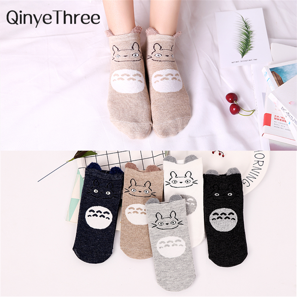 1 Pair Cartoon Totoro Ankle Socks Funny Fashion Cute Cat Anime Women Sock Summer Spring Soft Cotton Happy Japanese Korean Sox