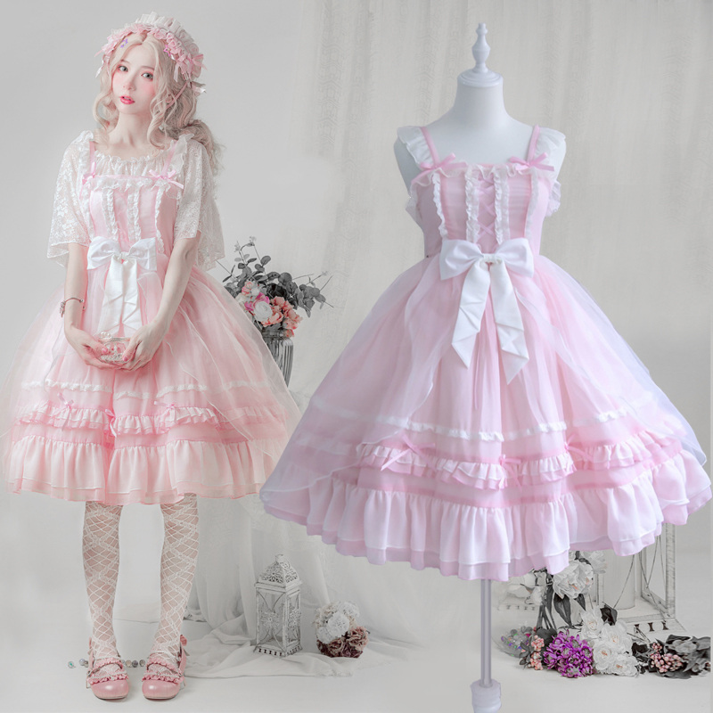 Palace Princess Daily Tea Party Sweet Lolita Dress Vintage Lace Bowknot High Waist Victorian Dress Kawaii Girl Jsk Loli Cosplay