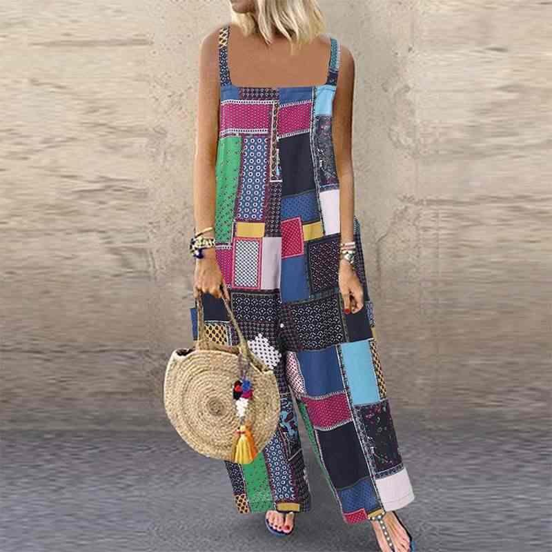 Женские широкие комбинезоны с этническим принтом 2019 летние длинные Комбинезоны для вечеринок винтажный комбинезон в богемном стиле свободные штаны