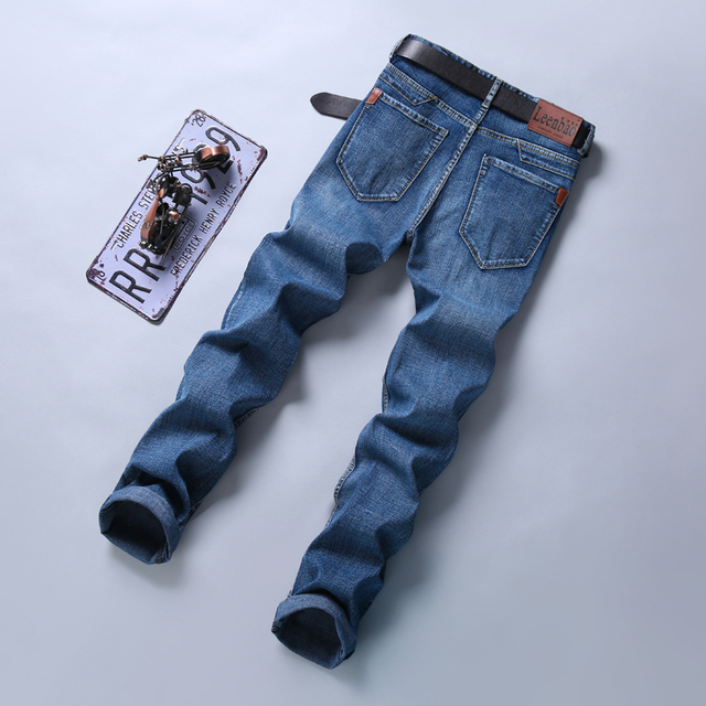Fashion Straight Regular Blue Stretch Denim Trousers Classic Men Plus Size 28-40