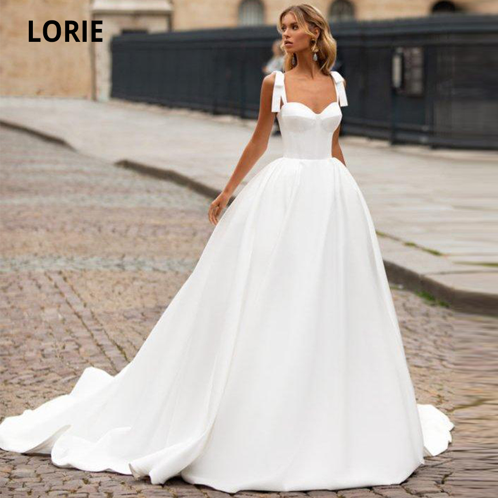 LORIE A-line Satin Wedding Dresses Sleeveless Back Lacing Simple Bridal Gowns Princess Wedding Party Dresses With Court Train