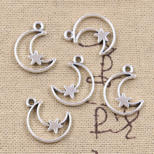 Tibetan Jewelry Pendants Crafts Diy Necklace Star Silver-Color 30pcs Charms Hollow-Moon