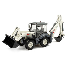 Excavadora de aleación fundida 1:50 para niños, pala de 4 ruedas, excavadora montacargas azadón posterior, modelo de camión para regalo, Juguetes