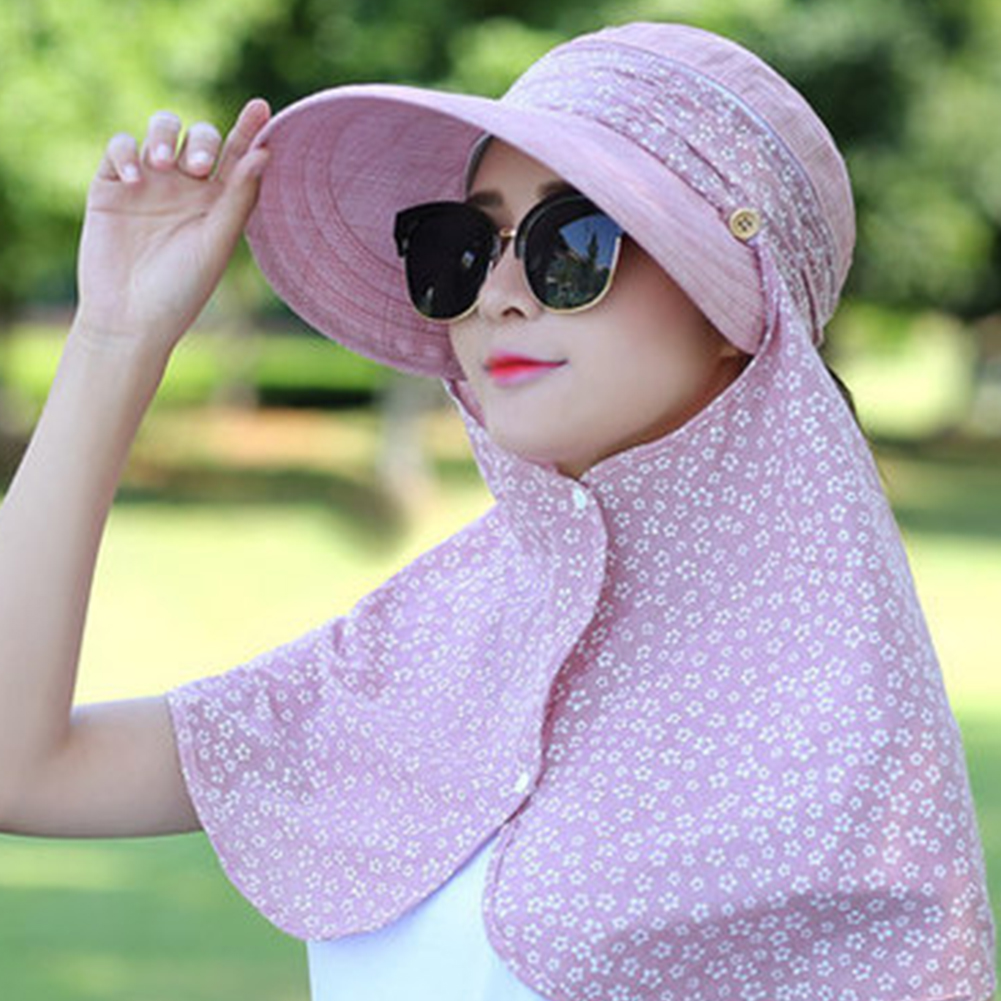Beach UV Protection Foldable Women Sun Hat Floral Print Wide Brim Summer Removable Design Casual Multifunction Hook And Loop
