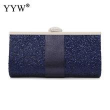 Blue Women Sequin Box Bag Clutch Design Box Clutch Fashion Lady Glitter Clutch Wallet Long Evening Wedding Prom Purse Handbag