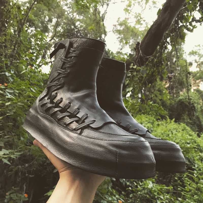 Harajuku Black High-Top Shoes Men Autumn Personality Genuine Cow Leather Desert Ankle Boots Luxury Round Toe Platform Sneakers