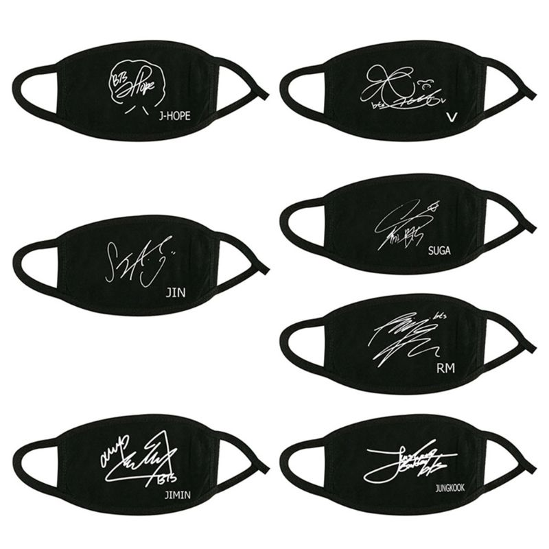 Women Men Unisex Kpop Member Name Signature Cotton Half Face Mouth Mask Classic Black White Muffle Respirator Fans Supportive