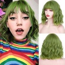 Короткие прямые синтетические парики Bobo зеленый Косплей парики с челкой для белых/черных женщин девушек Лолита милые парики