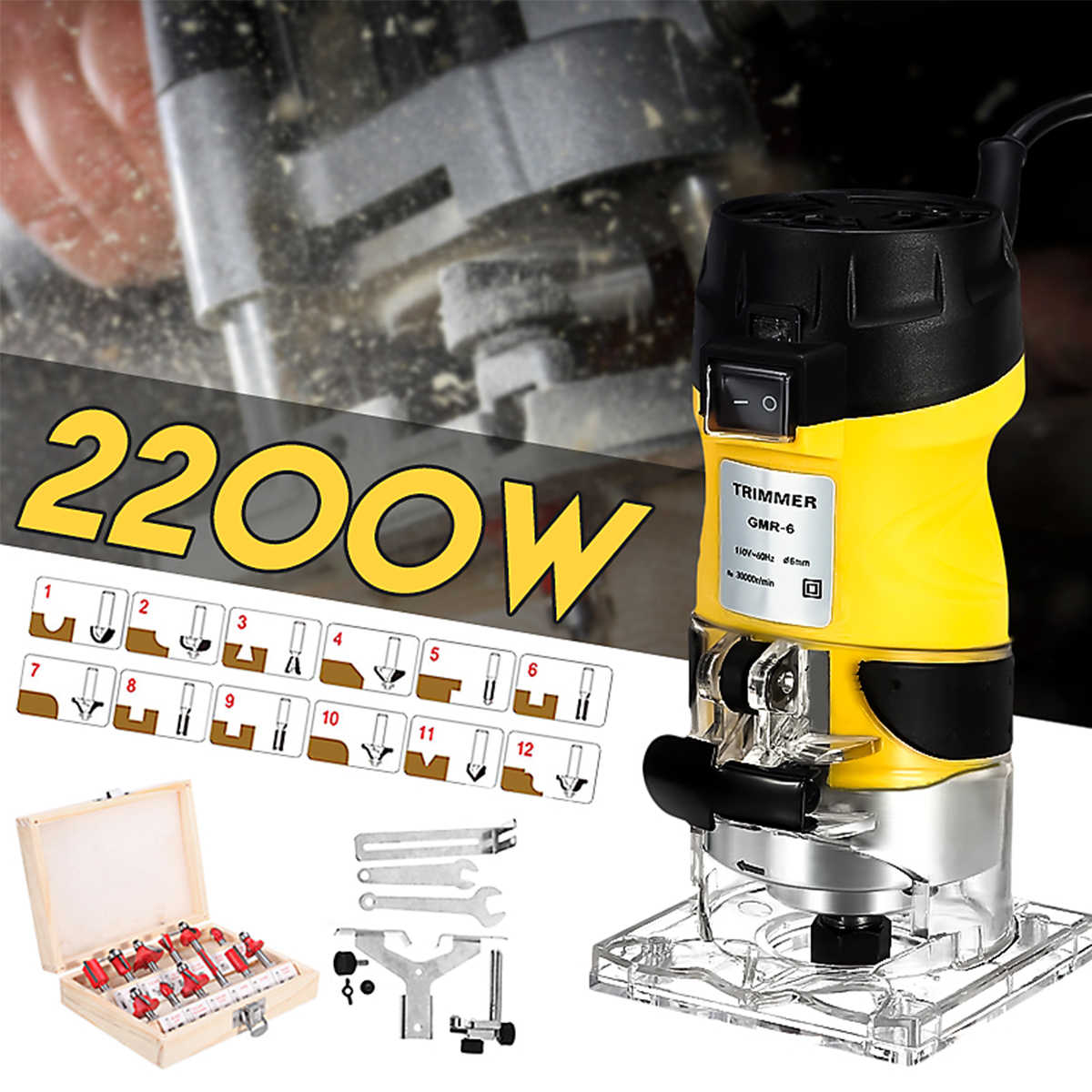 2200W Elektrische Hand Trimmer Hout Router 6.35mm Houtbewerking Laminator Timmerwerk Trimmen Snijden Carving Machine Power Tool