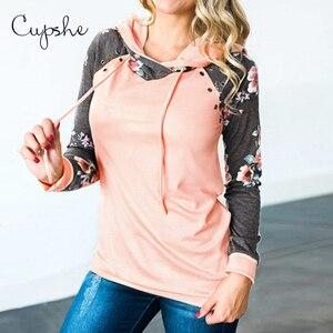 CUPSHE różowy/szary i czarny Foral bluza z kapturem kobiety Top na co dzień z długim rękawem bluza jesień pulower w stylu Harajuku bluzy odzież sportowa