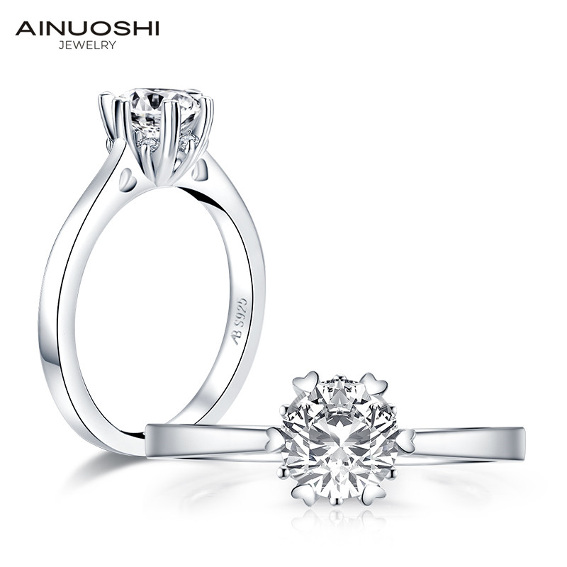 AINUOSHI 1ct Round Cut Solitaire Engagement Ring for Women 925 Sterling Silver Sona Simulated Diamond Anniversary Wedding Ring