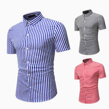 Mens Shirts 2020 Summer New Men's Stripe Slim Casual Short - Sleeved Shirt
