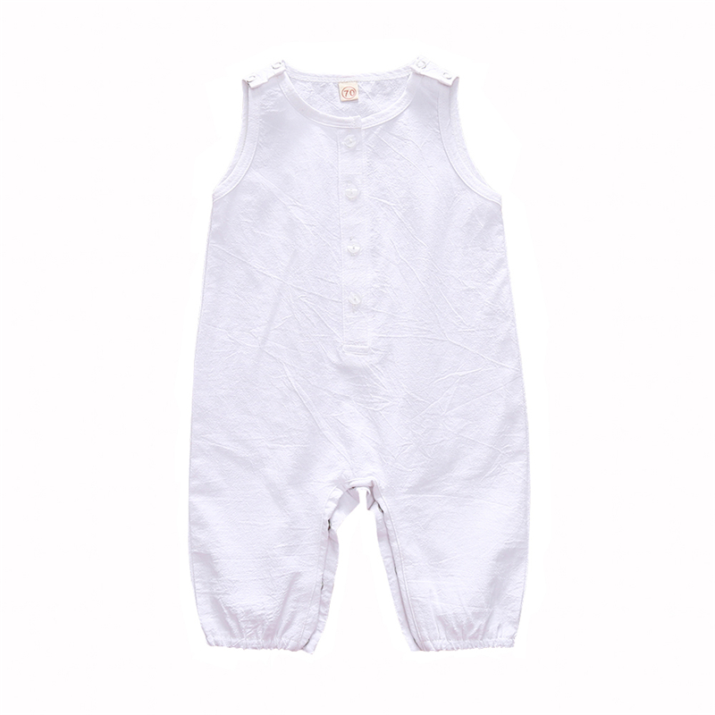 0 3Y newborn onesie sleeveless baby girl clothing baby clothes boy one piece button organic cotton romper for baby gift in Rompers from Mother Kids