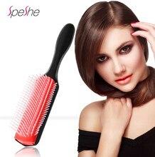 Denman escova de cabelo 9-linhas detangling escova de cabelo denman detangler escova de cabelo massageador cabelo liso encaracolado molhado estilo pente