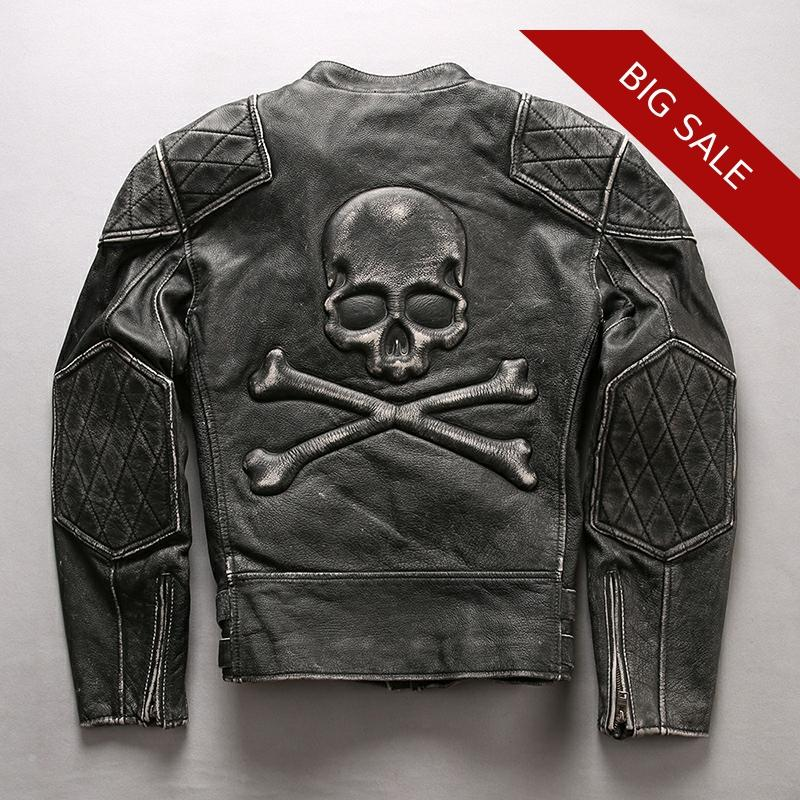2020 Vintage Black Men Skull Biker's Leather Jacket Plus Size XXXXL Genuine Thick Cowhide Slim Fit Motorcycle Leather Coat