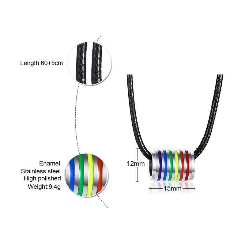 Mężczyźni kobiety Gay LGBT tęczowy naszyjniki wisiorki akcesoria lesbijek Pride czarny wosk liny łańcuchy ze stali nierdzewnej naszyjniki Charms
