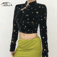 Imily Bela Sexy Vintage T Shirt Women Star Embroidery Lace Up Mandarin Collar Long Sleeve Crop Top Autumn Velvet Bodycon T-shirt недорого