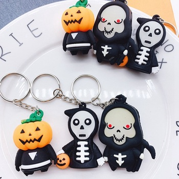 Keychains For Men Women Car Bag Fluorescence Night Light KeyRing Fashion Gift Funny Skull Pumpkin Halloween Gift Ghost Grim image